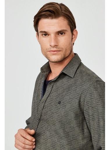 Avva Erkek  Çizgili Klasik Yaka Slim Fit Gömlek A02Y2057 Haki